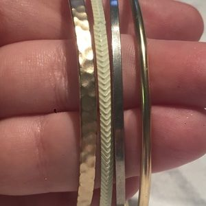 Jewelry - Bangle Bracelet Lot Chevron Hammered Round Flat